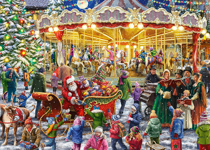 Falcon de Luxe 'The Christmas Carousel' Limited Edition 2 x 1000 Piece Jigsaw Puzzle 2