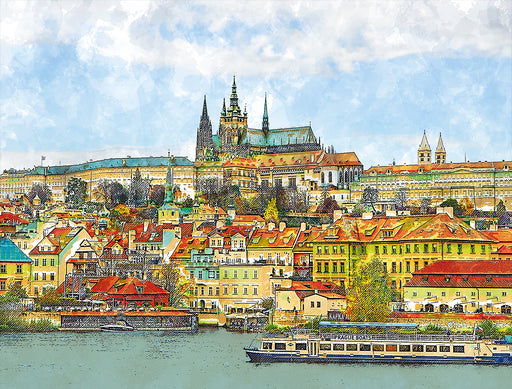 A Boat Trip in Prague 1000 Piece Scenic Jigsaw Puzzle