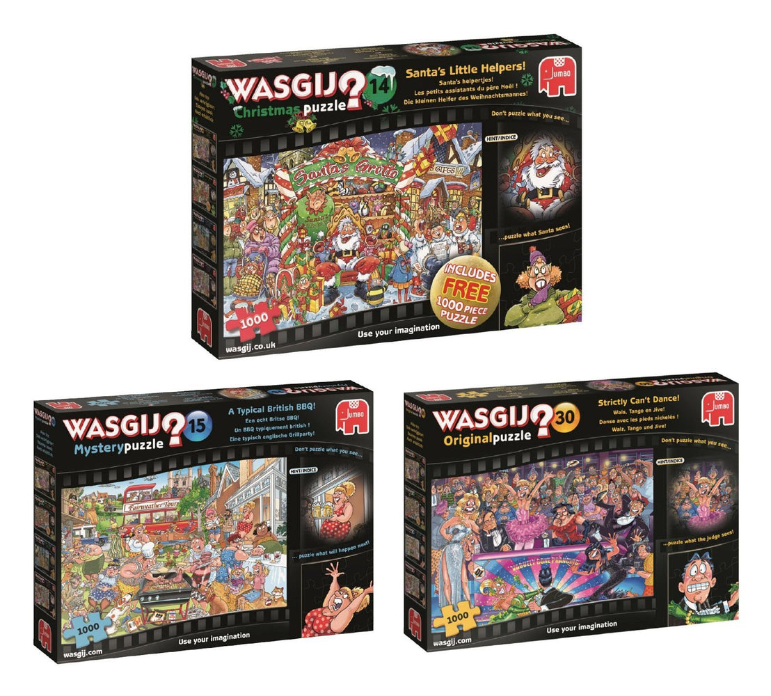 Wasgij Winter 2018 Box Set 3 x 1000 piece Jigsaw puzzles (Strictly Can't Dance | Typical British BBQ | Santa's Little Helpers
