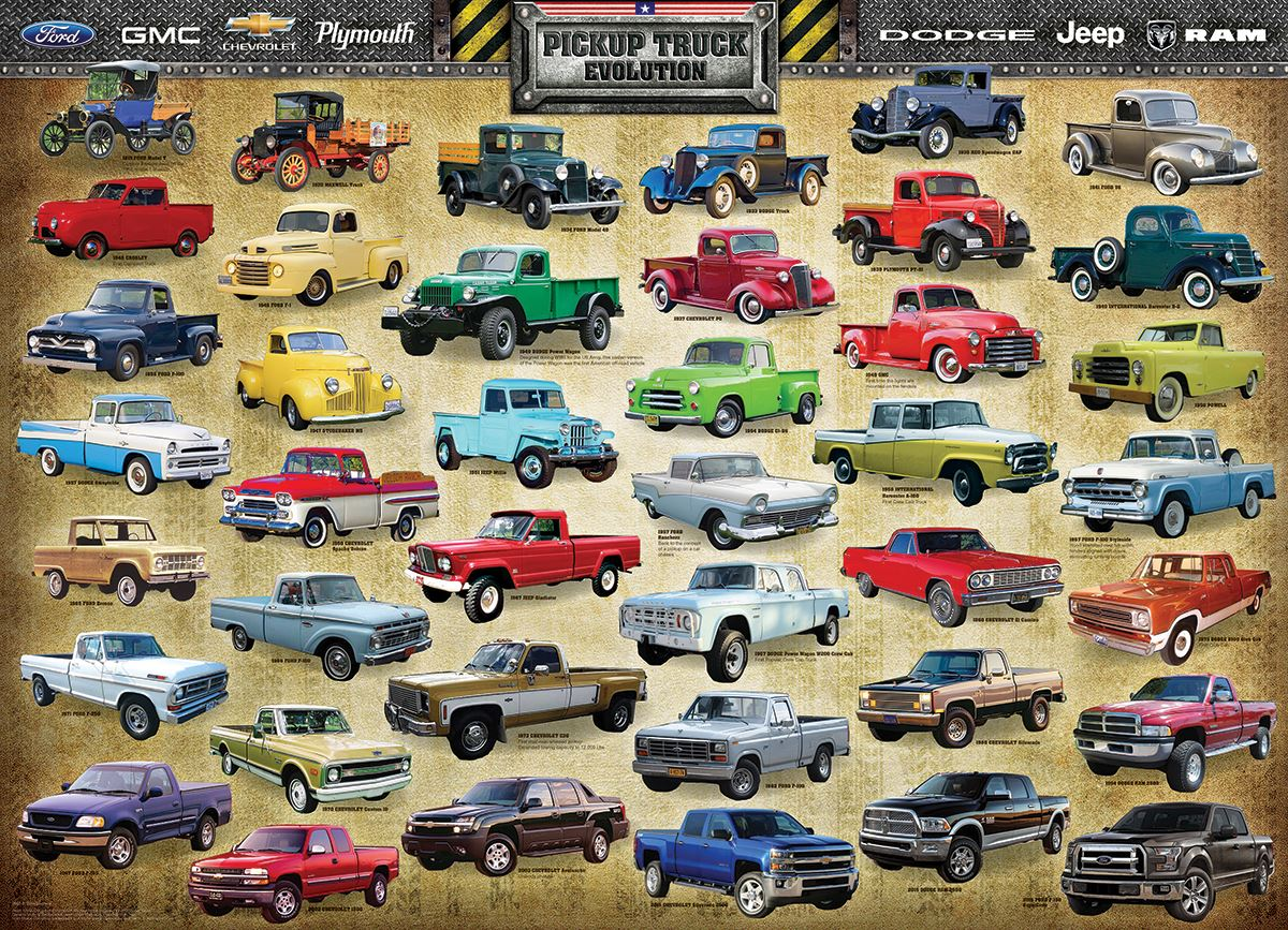 Pickup Truck Evolution 1000 Piece Jigsaw Puzzle