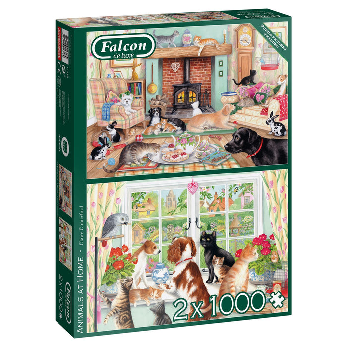 Falcon Animals at Home 2 x 1000 Piece Jigsaw Puzzle