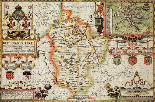 Bedfordshire 1610 Historical Map 300 Piece Wooden Jigsaw Puzzle