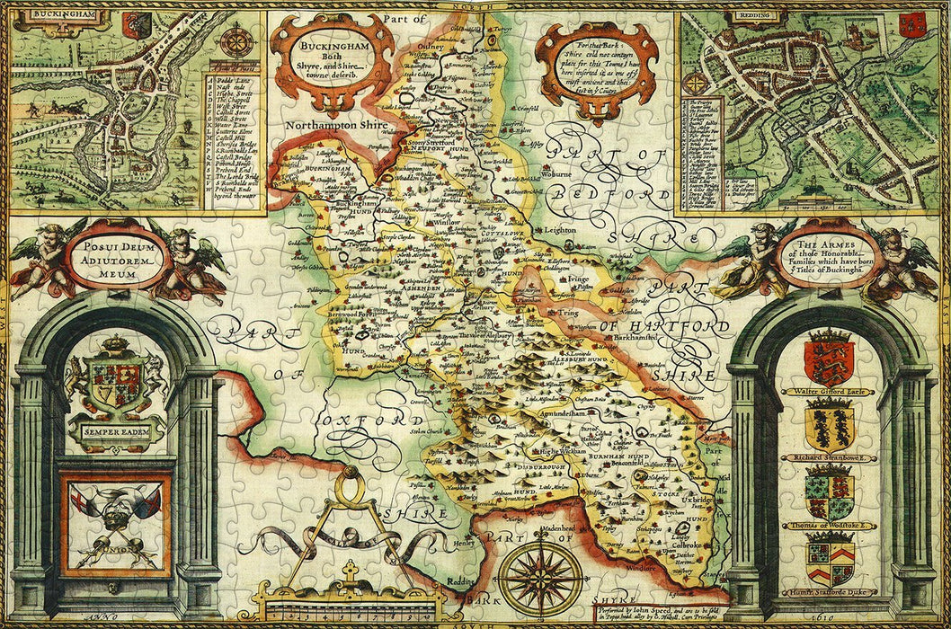 Buckinghamshire 1610 Historical Map 300 Piece Wooden Jigsaw Puzzle