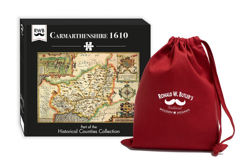 Carmarthenshire 1610 Historical Map 300 Piece Wooden Jigsaw Puzzle