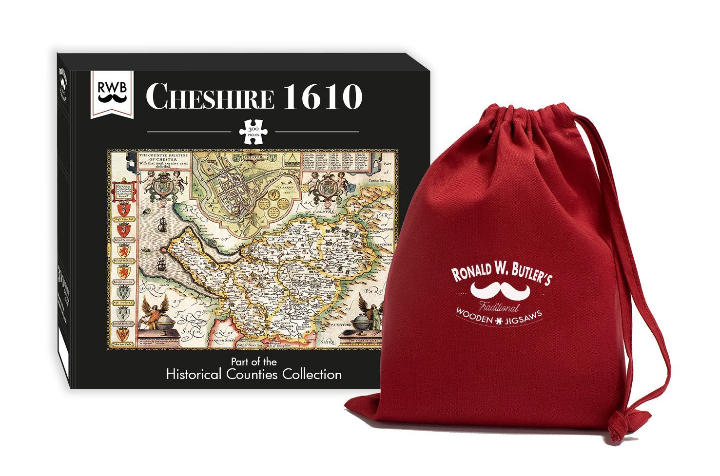 Cheshire 1610 Historical Map 300 Piece Wooden Jigsaw Puzzle
