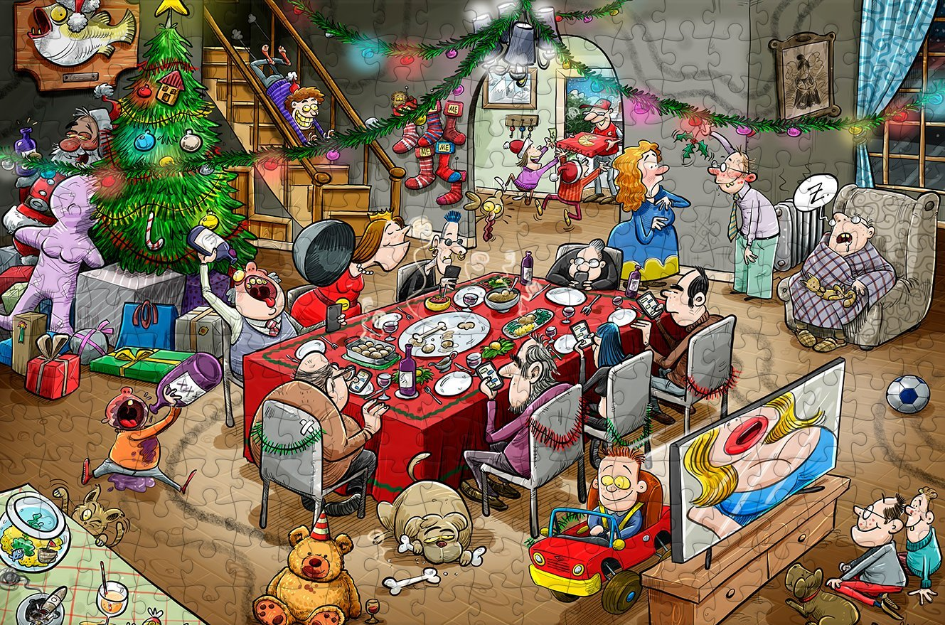 Chaos at Christmas Lunch - No. 11 300 Piece Wooden Jigsaw Puzzle