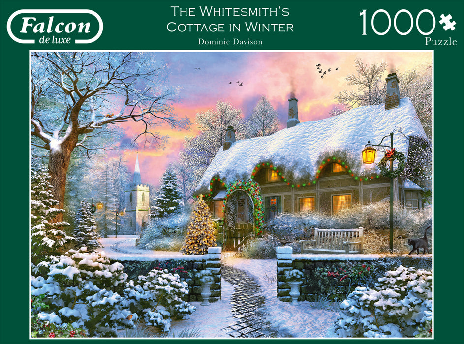 Falcon de Luxe - The Whitesmith's Cottage in Winter 1000 piece jigsaw puzzle box 2