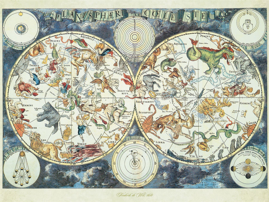 World Map (zodiac constellations) 1500 Piece Jigsaw Puzzle