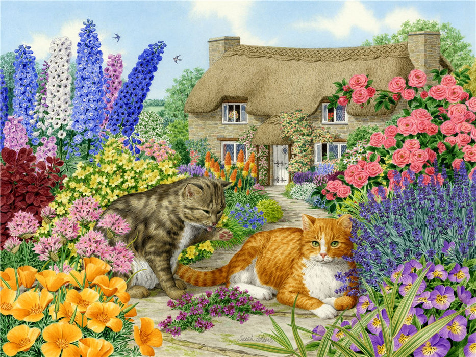 Spring Cottage Cats - Sarah Adams 1000 and 500 Piece Jigsaw Puzzle