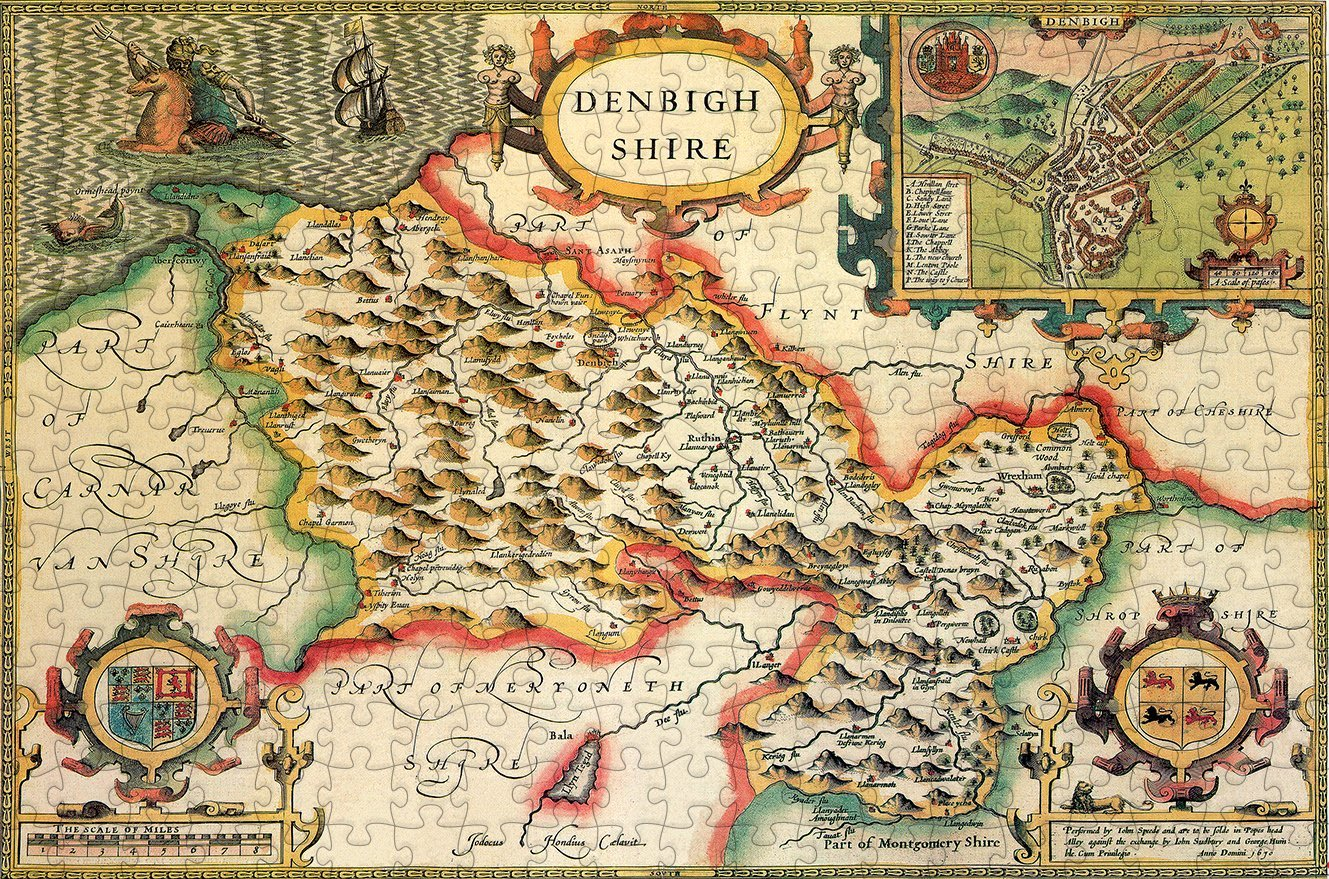 Denbighshire 1610 Historical Map 300 Piece Wooden Jigsaw Puzzle