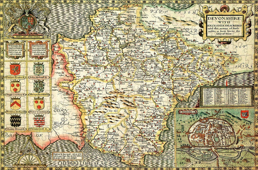 Devon 1610 Historical Map 300 Piece Wooden Jigsaw Puzzle