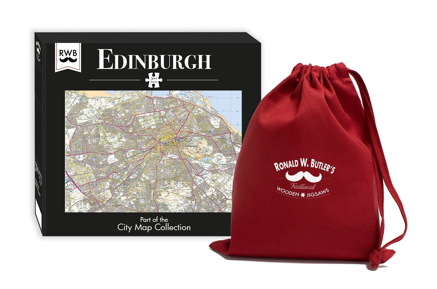 Edinburgh City Map Jigsaw Puzzle 300 Piece Wooden Jigsaw Puzzle