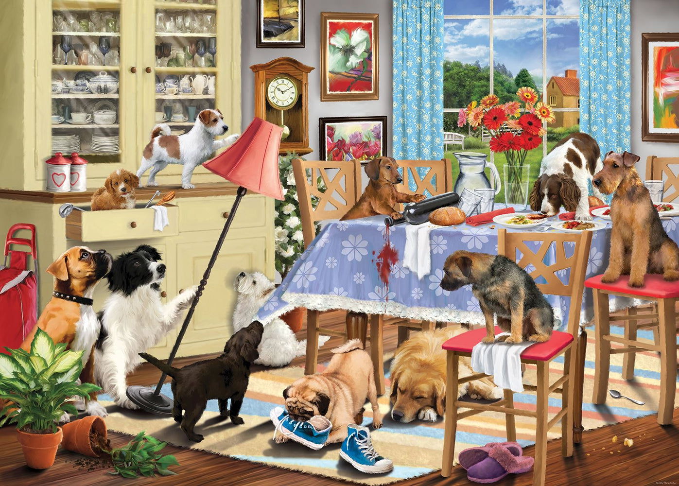 Dogs In The Dining Room 1000 Piece Jigsaw Puzzle