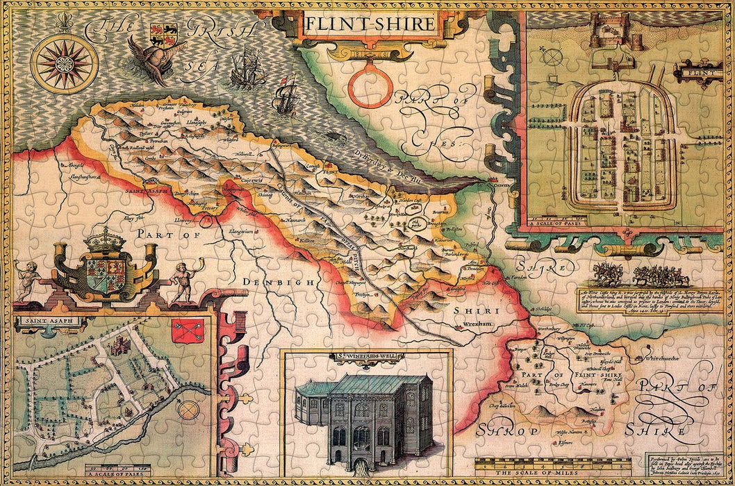 Flintshire 1610 Historical Map 300 Piece Wooden Jigsaw Puzzle