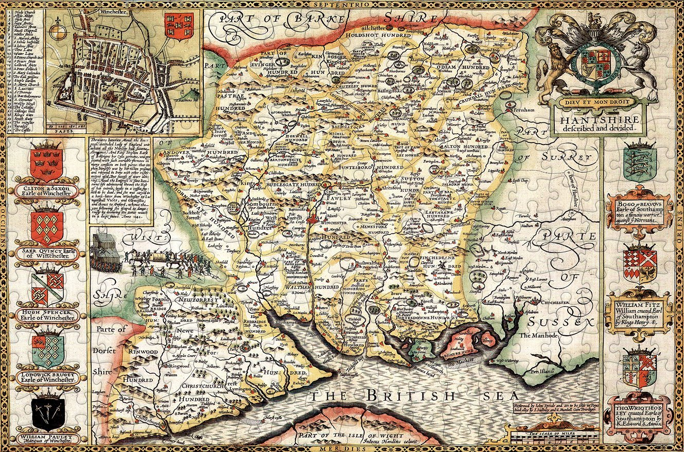 Hampshire 1610 Historical Map 300 Piece Wooden Jigsaw Puzzle