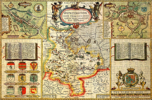 Huntingdonshire 1610 Historical Map 300 Piece Wooden Jigsaw Puzzle