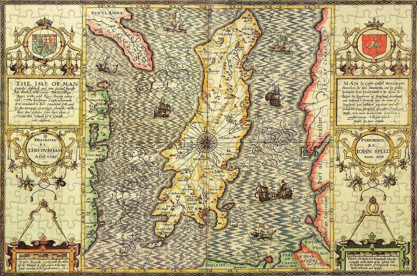 Isle of Man 1610 Historical Map 300 Piece Wooden Jigsaw Puzzle