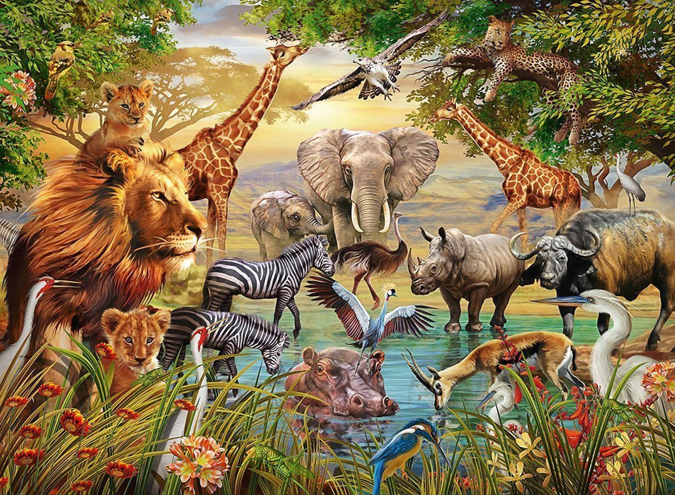 Jigsaw Puzzle - Animals At The Waterhole 500 Piece Jigsaw Puzzle