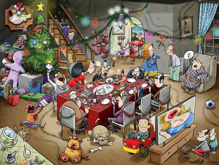 Jigsaw Puzzle - Chaos At Christmas Lunch 1000 Or 500 Piece Jigsaw Puzzles