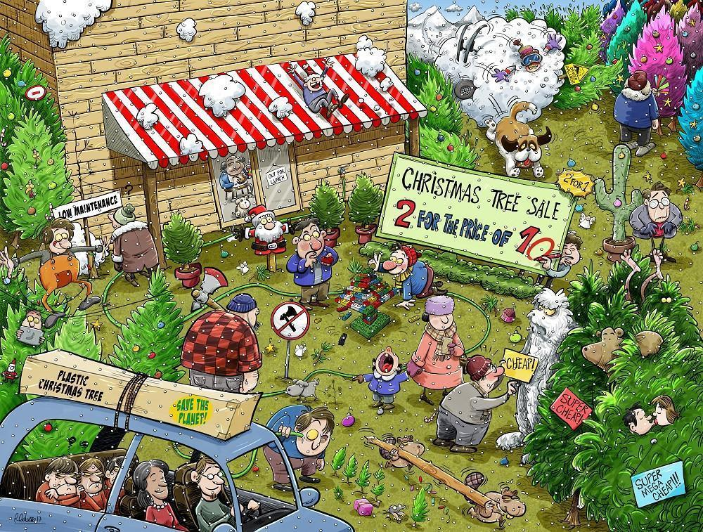 Chaos At Christmas Tree Farm 1000 Or 500 Piece Jigsaw Puzzles