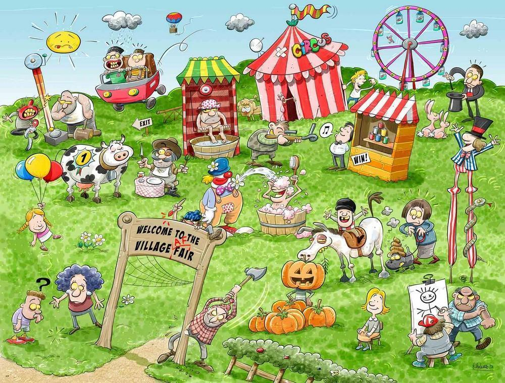 Jigsaw Puzzle - Chaos At The Village Fair 1000 Or 500 Piece Jigsaw Puzzles