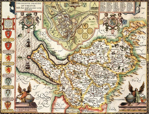 Cheshire Historical Map 1000 Piece Jigsaw Puzzle (1610) - All Jigsaw Puzzles UK  - 1