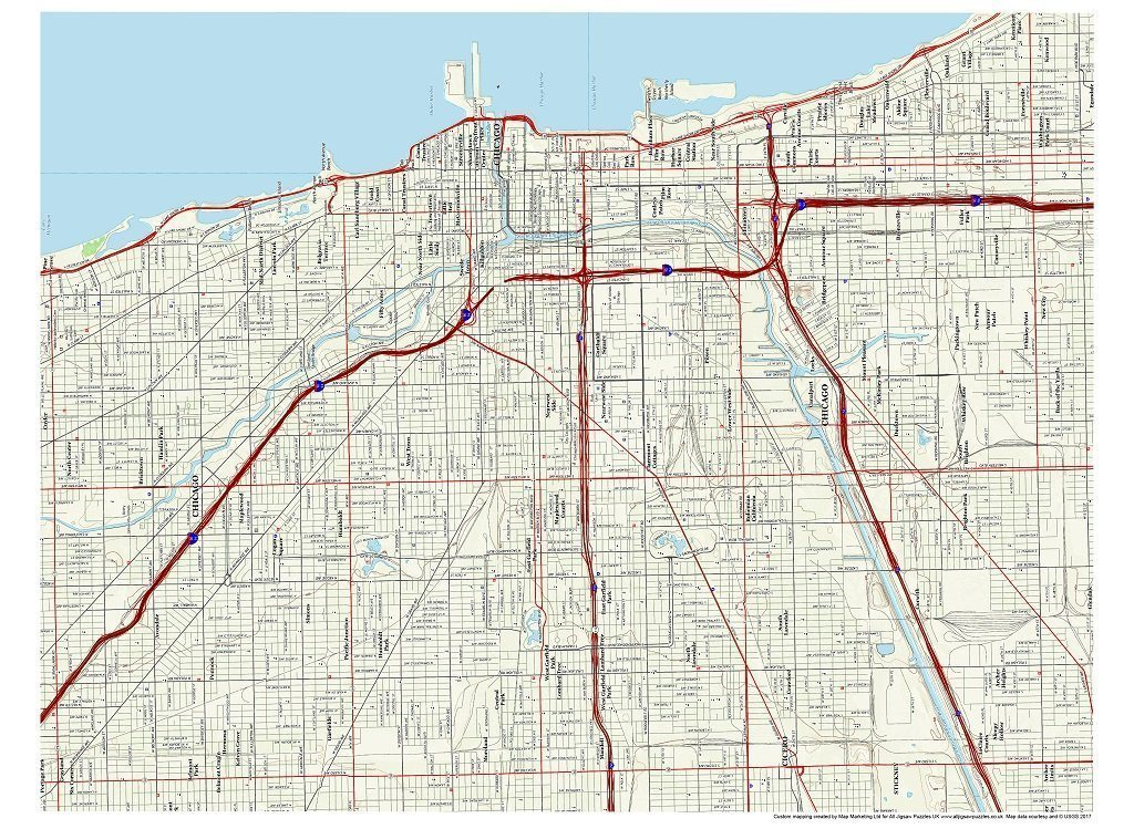 Jigsaw Puzzle - Chicago City Map Jigsaw Puzzle 1000 Piece Jigsaw Puzzle