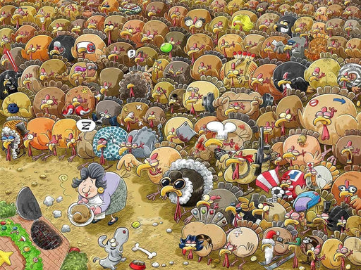 Jigsaw Puzzle - Christmas Chaos At Turkey Farm 1000 Or 500 Piece Jigsaw Puzzle