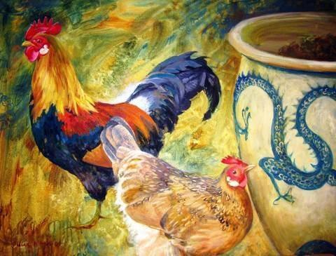 Cockerel, Hen & Dragon, 1000 Piece Jigsaw Puzzle - All Jigsaw Puzzles UK  - 1