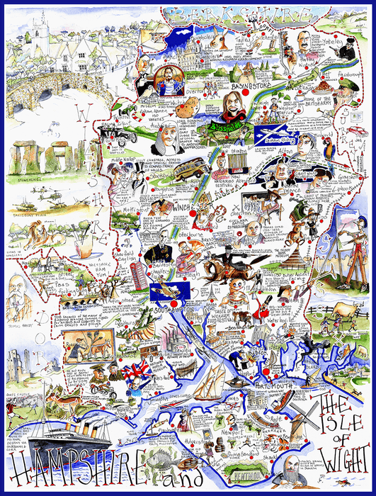Jigsaw Puzzle - Comical Map Of Hampshire - Tim Bulmer 1000 Piece Jigsaw Puzzle