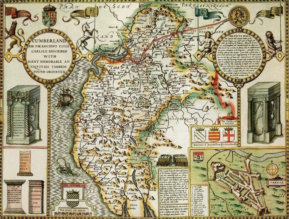 Cumberland Historical Map 1000 Piece Jigsaw Puzzle (1610) - All Jigsaw Puzzles UK  - 1