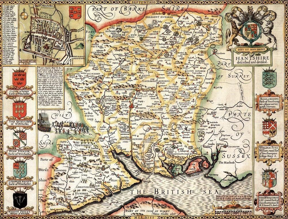 Hampshire Historical Map 1000 Piece Jigsaw Puzzle (1610) - All Jigsaw Puzzles UK  - 1