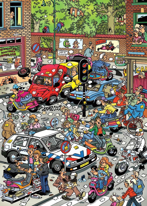 Jan van Haasteren Traffic Chaos 500 piece jigsaw puzzle - All Jigsaw Puzzles UK  - 1
