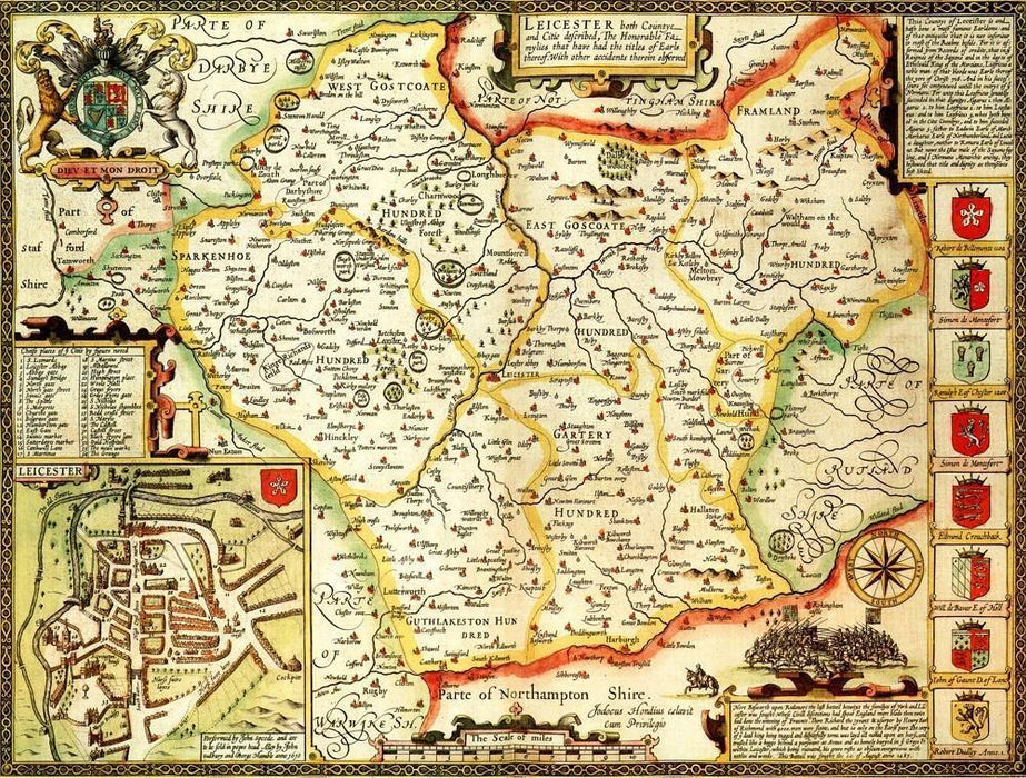Leicestershire Historical Map 1000 Piece Jigsaw Puzzle (1610) - All Jigsaw Puzzles UK  - 1