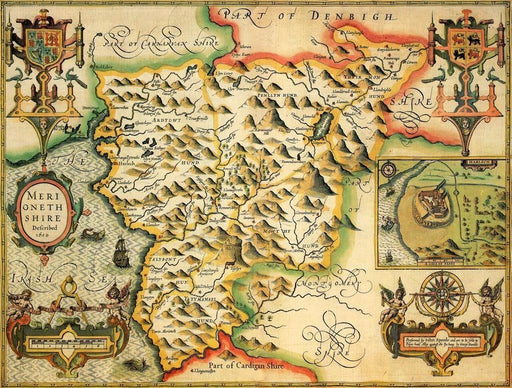 Merionethshire Historical Map 1000 Piece Jigsaw Puzzle (1610) - All Jigsaw Puzzles UK  - 1