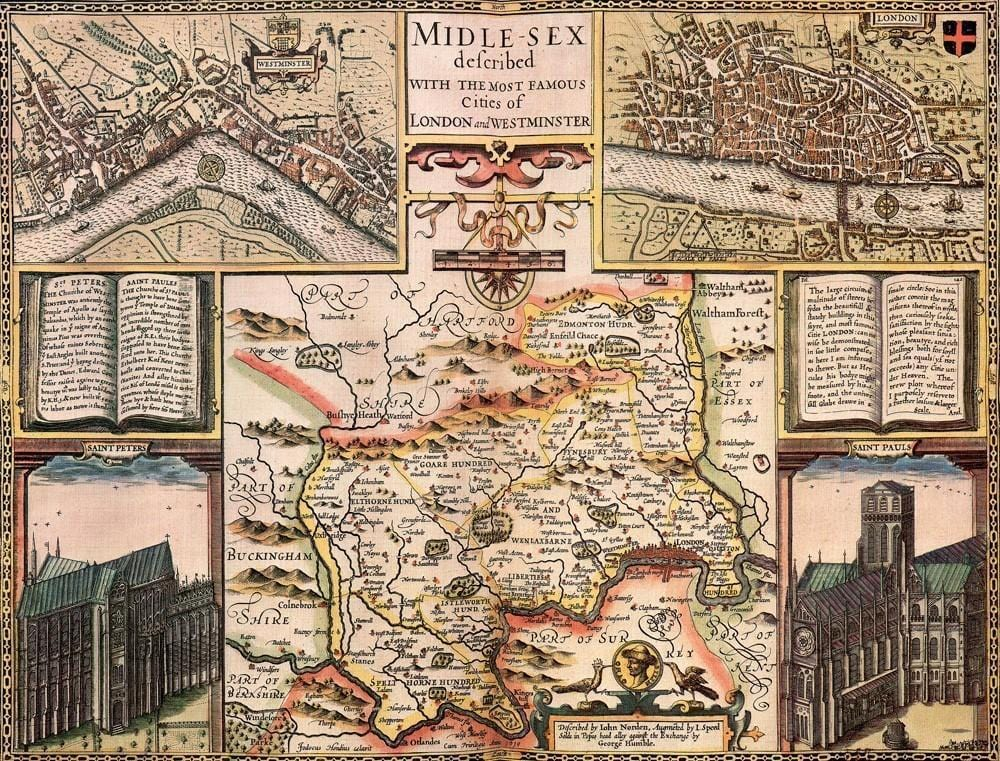 Middlesex Historical Map 1000 Piece Jigsaw Puzzle (1610) - All Jigsaw Puzzles UK  - 1