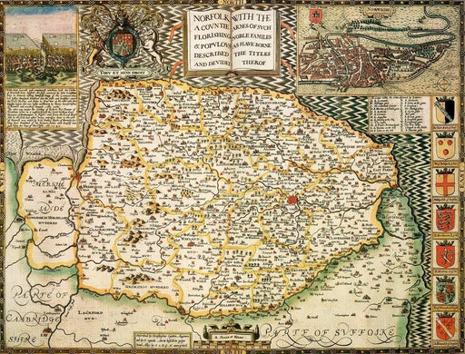Norfolk Historical Map 1000 Piece Jigsaw Puzzle (1610) - All Jigsaw Puzzles UK  - 1