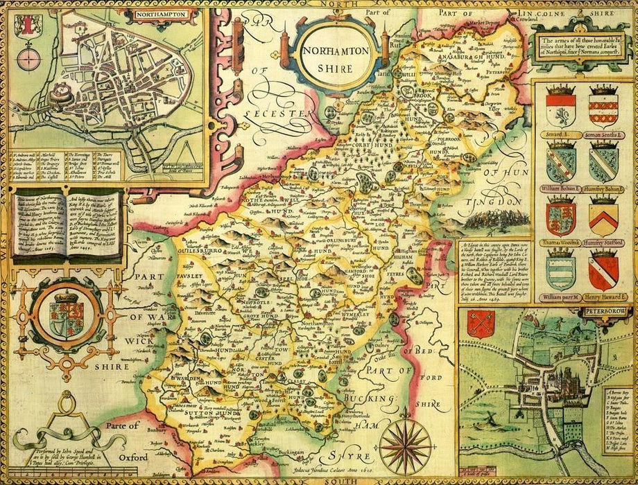 Northamptonshire Historical Map 1000 Piece Jigsaw Puzzle (1610) - All Jigsaw Puzzles UK  - 1