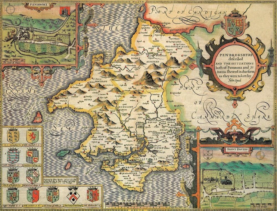 Pembrokeshire Historical Map 1000 Piece Jigsaw Puzzle (1610) - All Jigsaw Puzzles UK  - 1