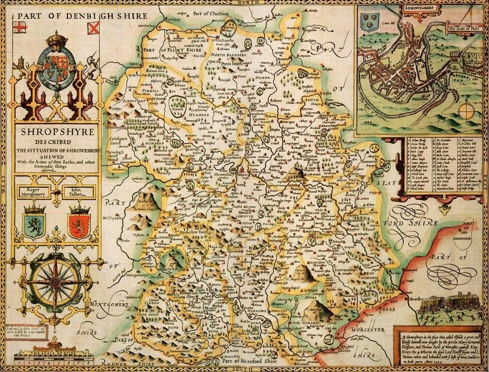 Shropshire Historical Map 1000 Piece Jigsaw Puzzle (1610) - All Jigsaw Puzzles UK  - 1