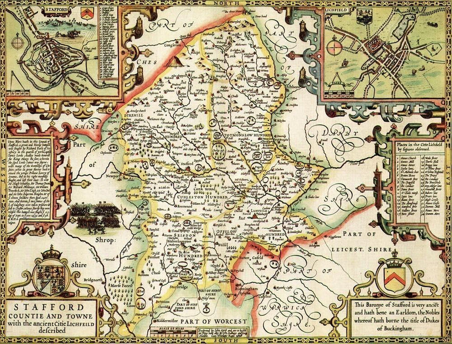 Staffordshire Historical Map 1000 Piece Jigsaw Puzzle (1610) - All Jigsaw Puzzles UK  - 1