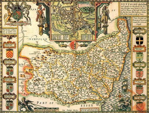 Suffolk Historical Map 1000 Piece Jigsaw Puzzle (1610) - All Jigsaw Puzzles UK  - 1