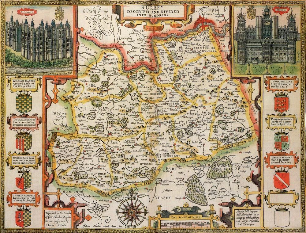 Surrey Historical Map 1000 Piece Jigsaw Puzzle (1610) - All Jigsaw Puzzles UK  - 1