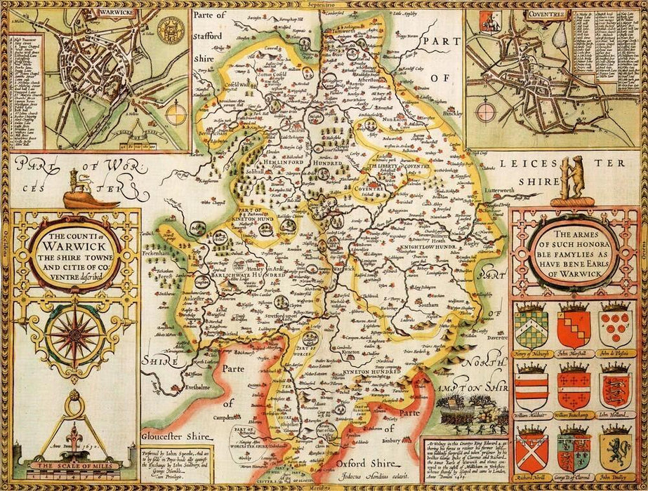 Warwickshire Historical Map 1000 Piece Jigsaw Puzzle (1610) - All Jigsaw Puzzles UK  - 1