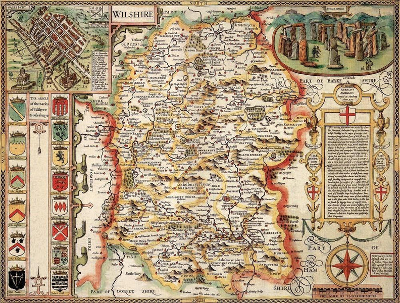 Wiltshire Historical Map 1000 Piece Jigsaw Puzzle 1610