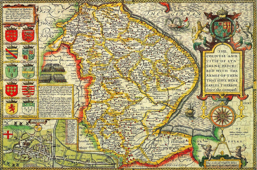 Lincolnshire 1610 Historical Map 300 Piece Wooden Jigsaw Puzzle