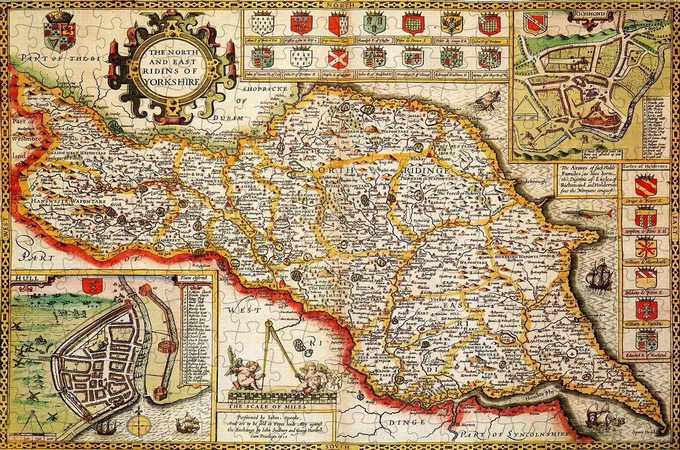Yorkshire North & East Riding 1610 Historical Map 300 Piece Wooden Jigsaw Puzzle