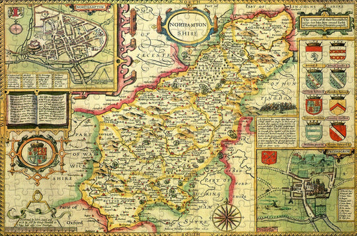 Northamptonshire 1610 Historical Map 300 Piece Wooden Jigsaw Puzzle