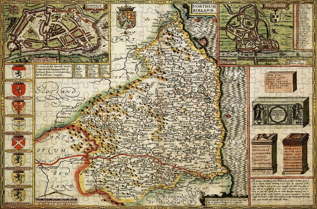 Northumberland 1610 Historical Map 300 Piece Wooden Jigsaw Puzzle