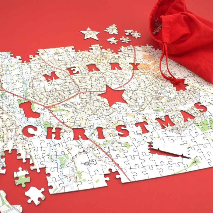 Personalised Jigsaw - Merry Christmas Personalised 400 Piece Map Jigsaw